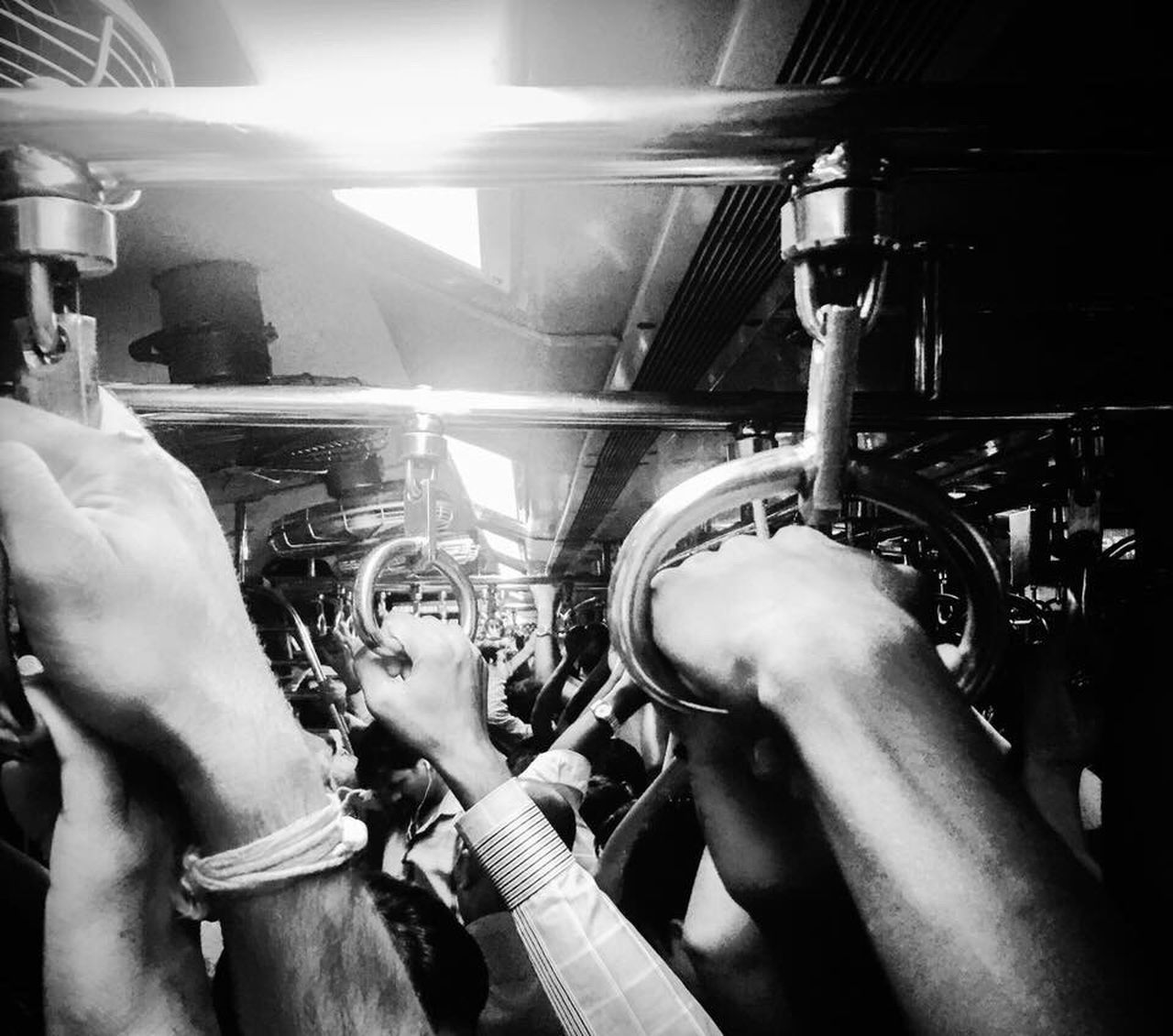 People Hands Together Traveling Train The Great Outdoors - 2017 EyeEm Awards The Human Condition Safety Grip HoldOn Blackandwhite Crowded Traveling Together Back Home
