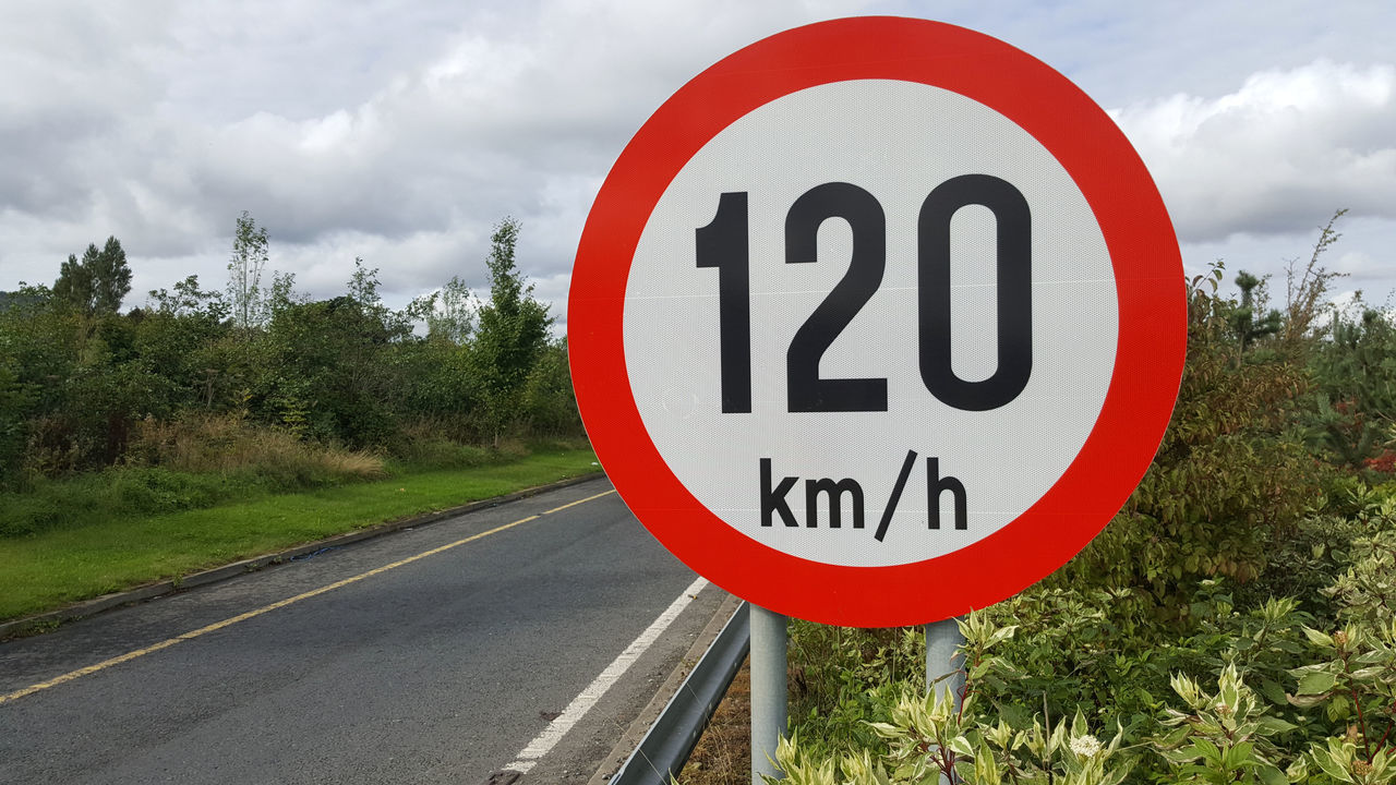 120 Big Circle Km/h Motorway Outdoors Red Circle Road Road Road Sign Speed Limit Sign Transportation