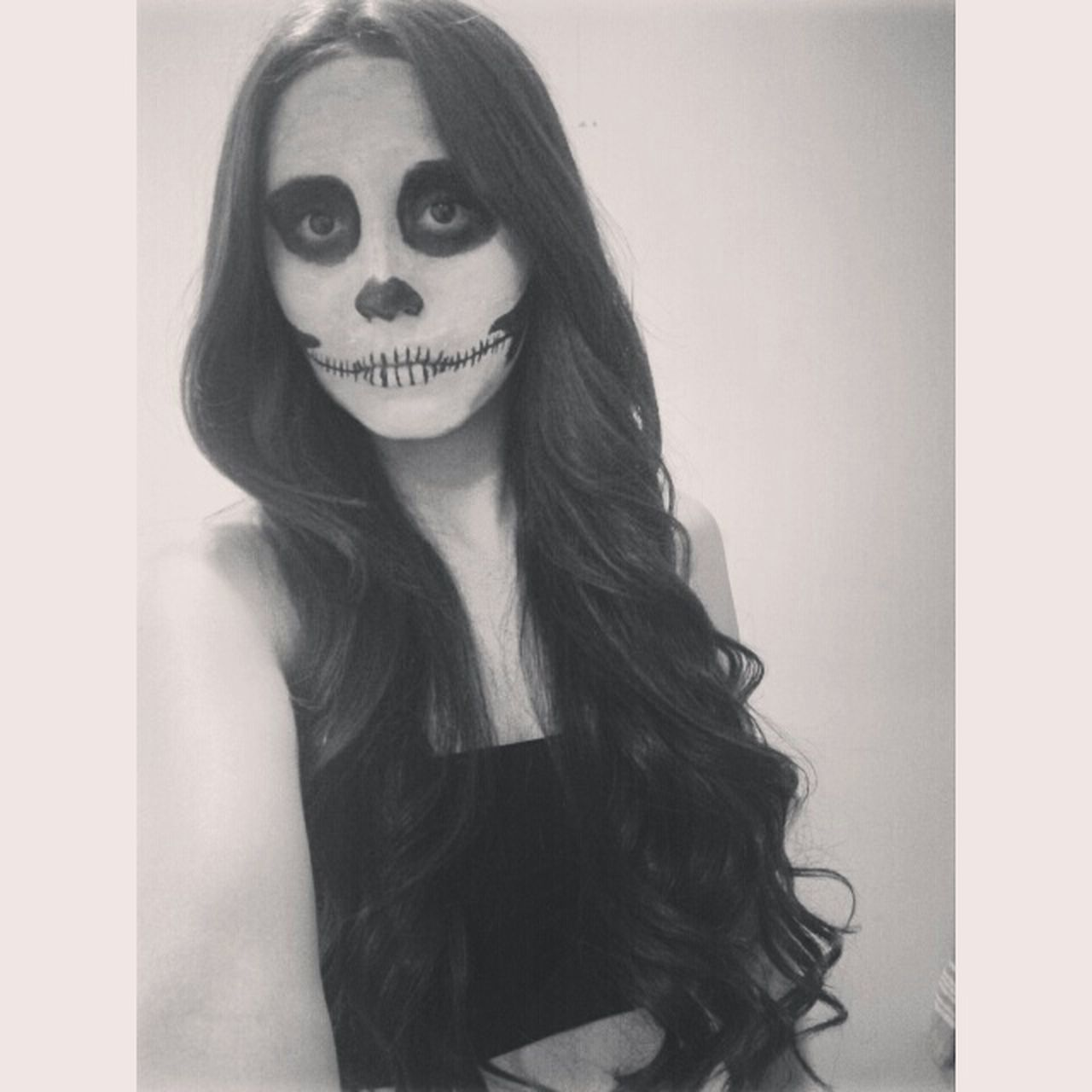 Skull Makeup Skull Halloween Long Hair Black And White October Hipster Pale Costume Scary