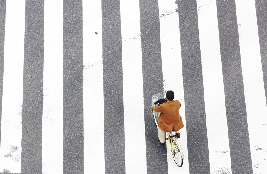 A man ride a bicycle to cross the crosswalk Cycling Bicycle Zebra Crossing Striped One Person Transportation Outdoors One Man Only Men Only Men Day Road City Adult Adults Only People Young Adult
