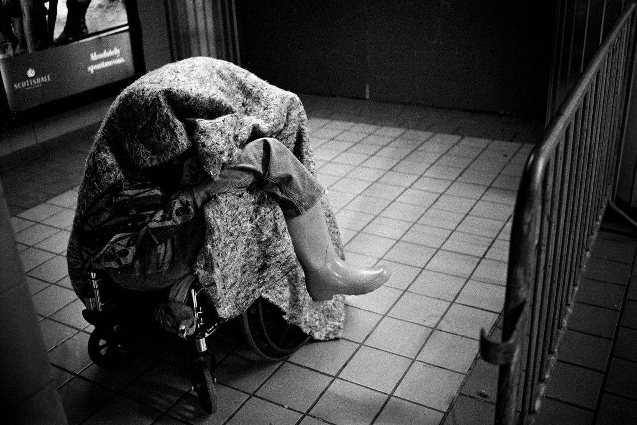 Black And White Photography Blackandwhite Film Film Photography Filmisnotdeath Homelessness  One Person Poorpeople Subway Station Wellington Boots Wheel Chair