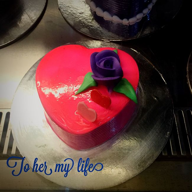 To her my heart my life but I am eating it alone Enjoying Life Cake Valentine Love Happy Fun Chennai India Sweet Heart