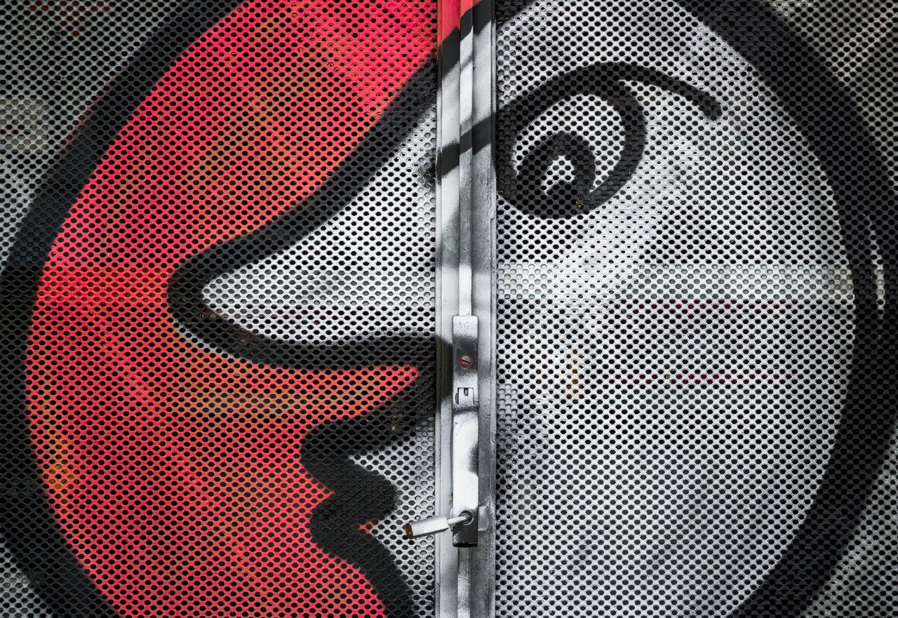 Sun / moon painted on iron door Aluminum Art Background Bright Cartoon Child Circle City Cover Day Design Dream Eye Eyes Face Fence Gate Glow Graffiti Grid Grille Handle Illustration Image Imagination