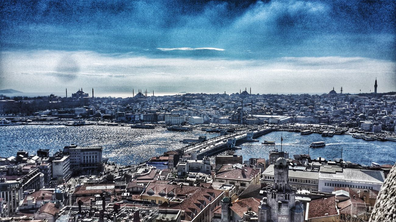 Cityscape Travel Destinations Water Galata Tower Tarihiyarimada Istanbul I took this photo from Galata Tower. In 2014.