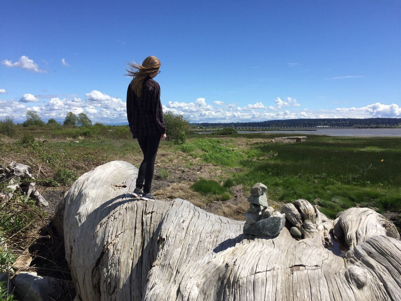 Girl standing on driftwood Nature Rear View Landscape Sky Field Day Scenics One Person Beauty In Nature Real People Outdoors Standing Lifestyles Grass Sea Women Water Horizon Over Water Mammal People