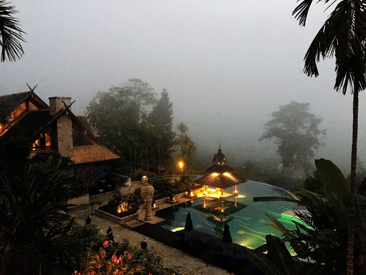 Building Exterior Architecture Built Structure Fog House Foggy Outdoors New Year's Eve 2015 Beauty In Nature winter in thailand North Of Thailand six stars hotel New Year Kick Off happy Elephant Nature Park resort elephant camp Sky Tourism Tranquility