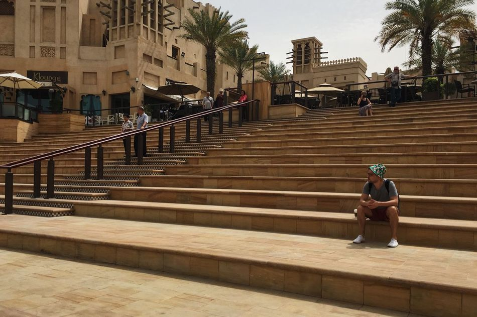 Souk Madinat Jumeirah. Dubai, UAE Arabian Arabic Arabic Architecture Arabic Style Built Structure Dubai Emirates Full Length Jumeirah Medinat Oasis Oazis Railing Real People Sandy Souk Staircase Steps Steps And Staircases Travel Travel Destinations Travel Photography Traveling UAE Warm