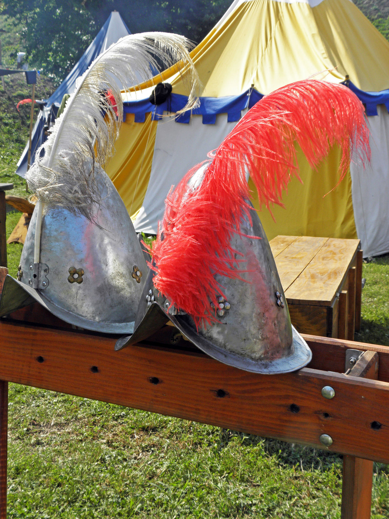 Renaissance Festival,Koprivnica,Croatia,Europe, 2016, 45,helmets with feathers Close-up Croatia Day Design Enjoying Entertainment Eu Europe Fair Feathers Helmets Koprivnica Multi Colored Picturesque Renaissance Festival Show Summer