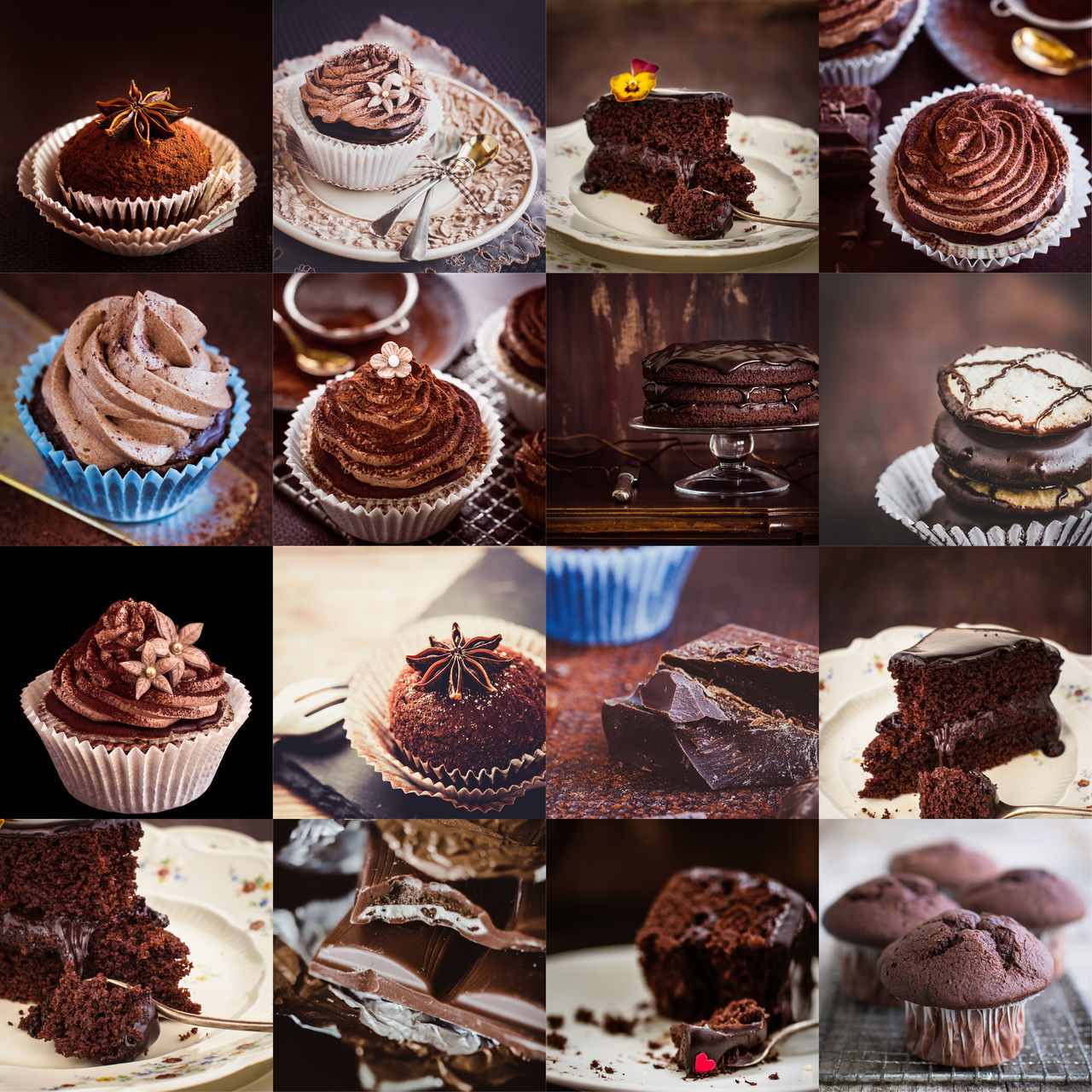 Cake Chocolate Choice Close-up Collage Collection Cupcake Day Dessert Food Food And Drink Freshness Indoors  Indulgence Multi Colored Multiple Image No People Ready-to-eat Sweet Food Temptation Unhealthy Eating Variation