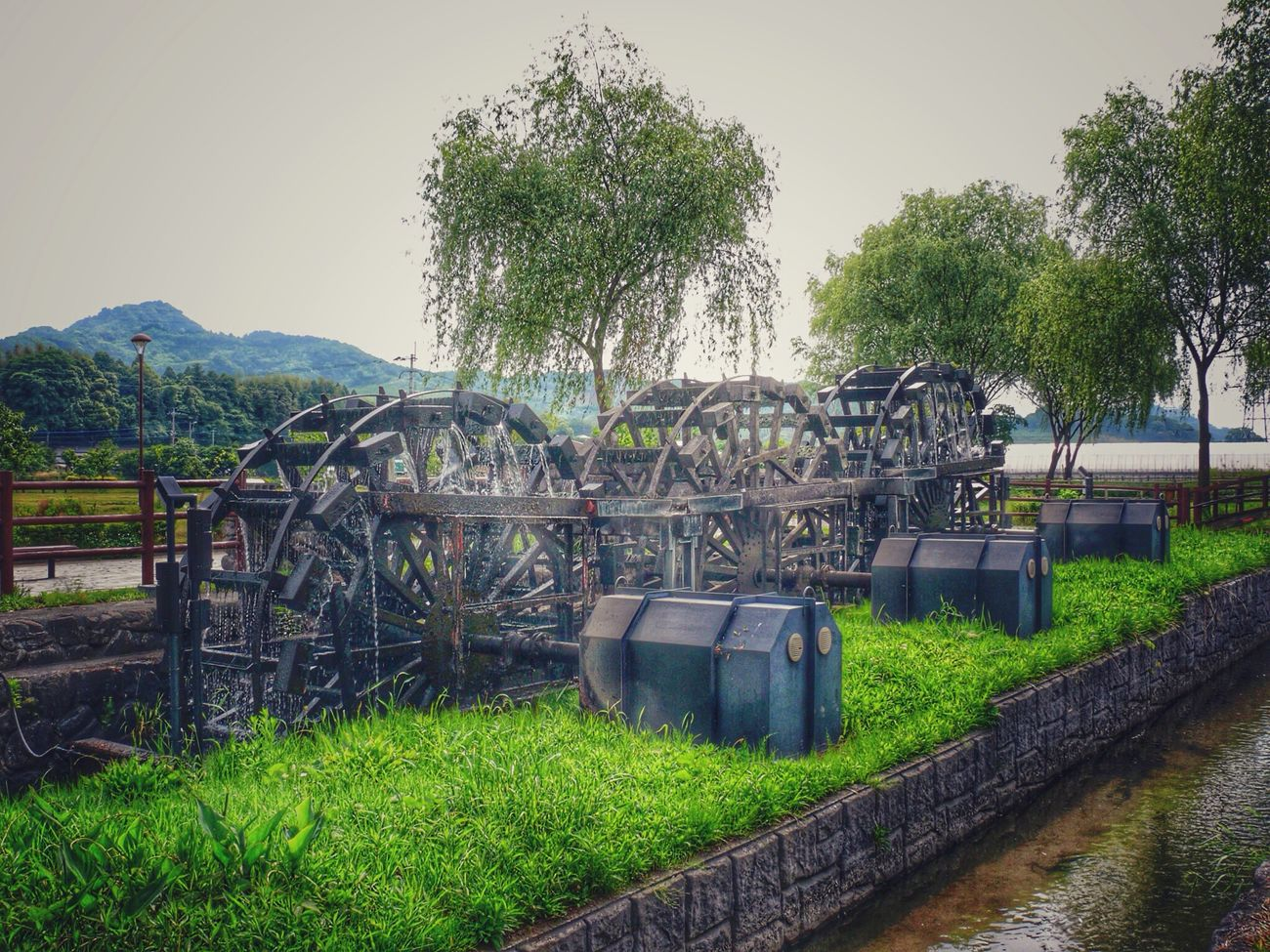 Water Wheel Walking Around Suisha koen Park Asakura city. Fukuoka,Japan Green Green Green!  Snapseed_HDR