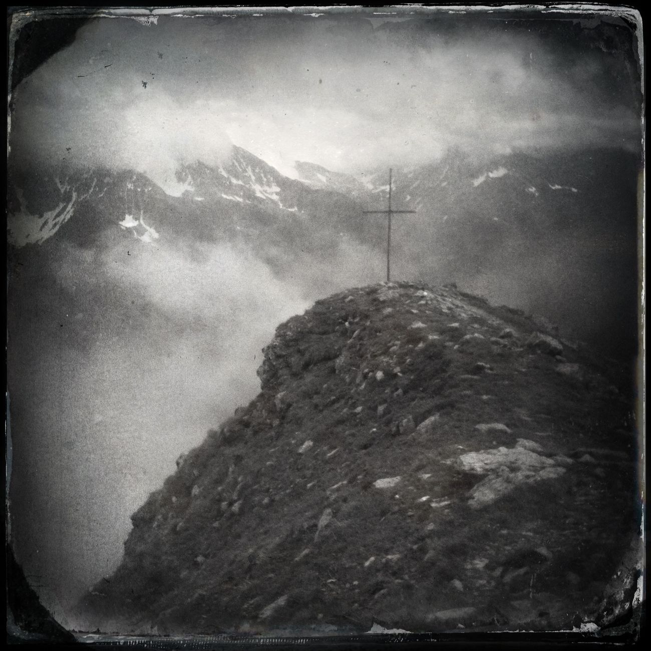 The cross on the summit of Mt. Peilstein - Il Sasso (2530 m) Blackandwhite Hipstamatic The_guido
