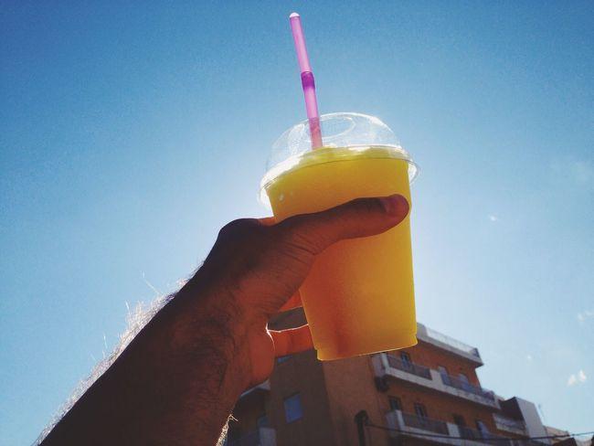 Day Sun Drink Summer Day Iced Beverage Blue Yellow Tasty Refreshment