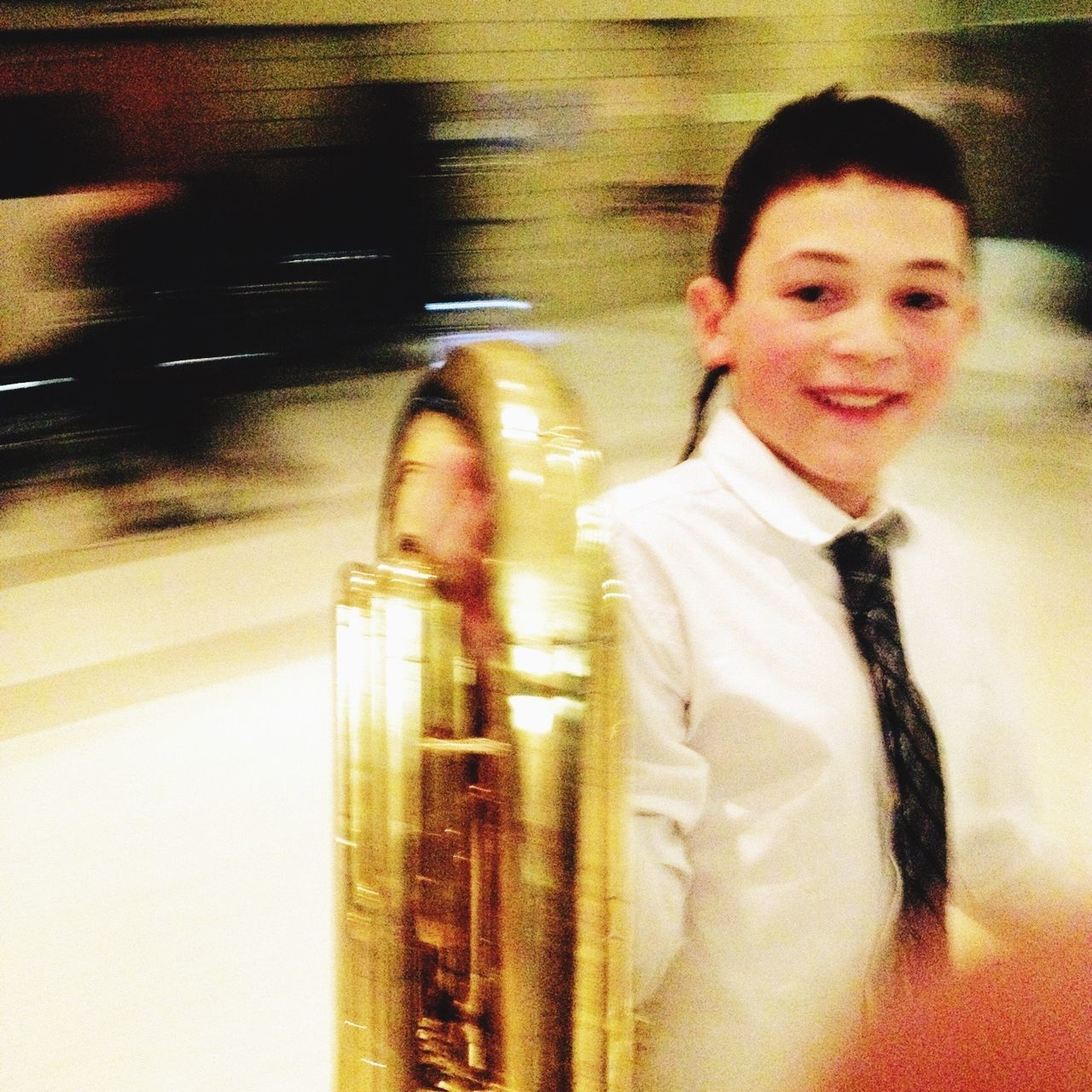 Concert Tuba Boy Band Blurred Motion Focal Point Blurred Background