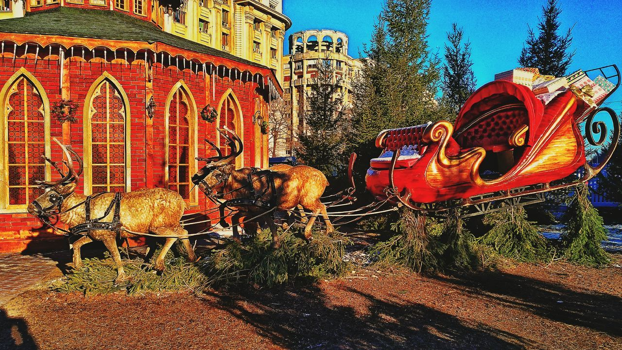 Santa is comming to town. Outdoors Close-up No People Sky Day Architecture Santa Claus Santa Père Noël Christmas Decoration Chtistmas Christmastime Christmas Decorations Christmas Around The World Xmas Time Xmas🎄 XMas Spirit Xmas Decorations Xmas Tree Reindeer Reindeer Sleigh Ride Sleigh