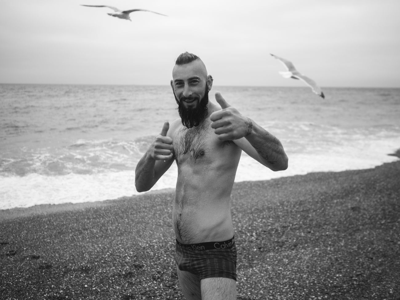 Brighton Beach couple of weeks ago. Beach Sea Shirtless Only Men One Man Only Men Portrait One Person Looking At Camera Place Of Heart Streetlife Cıty Life Stranger Lifestyles The Street Photographer - 2017 EyeEm Awards Street Photography Olympus Pen-f Maxgor Urban Street Urbanlife Cıty Human Face Live For The Story Happiness