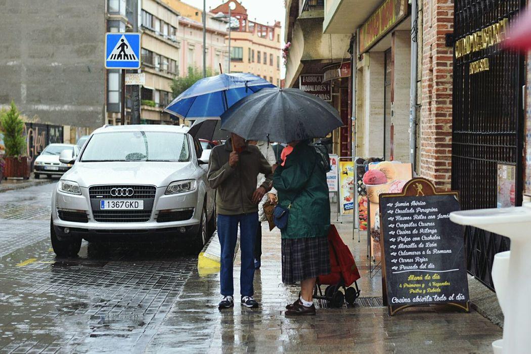 SECRET TALK Umbrella Street Rain City SPAIN CaminodeSantiago Pilgrim Travel Astorga