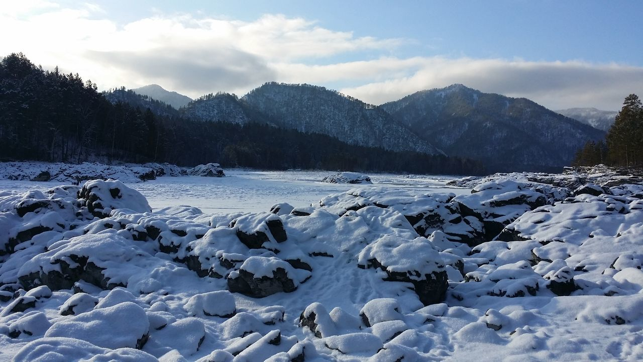 Altay Mauntains River Katun Winter Snow Sunny Day Rocks