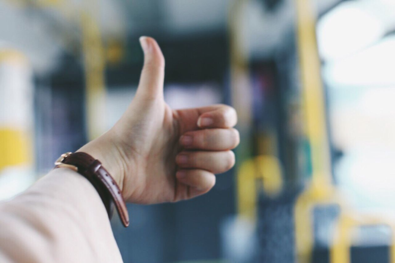 Tram Berlin Human Hand Gesturing Human Body Part Human Finger Focus On Foreground Real People Close-up Thumbs Up One Person Men Indoors  Wristwatch Time Day Adult People