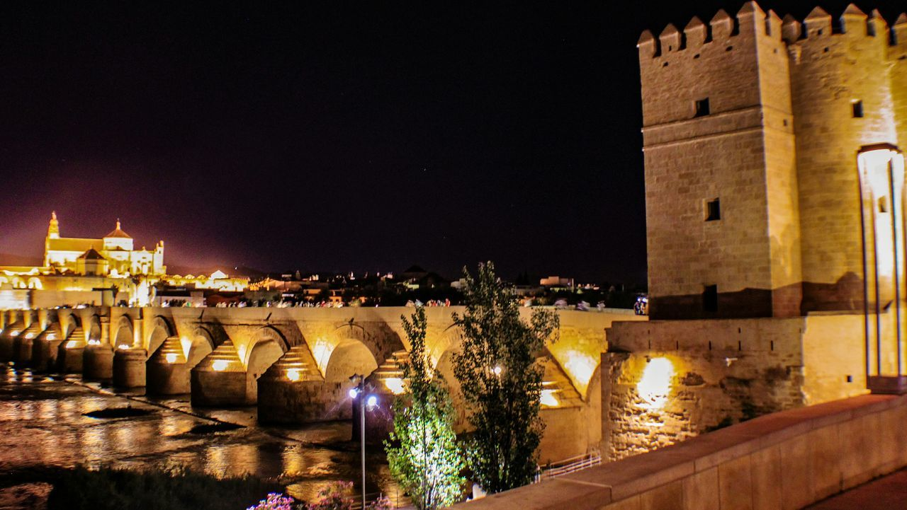 Cordoba Spain Cordobaespaña Andalucía Learn & Shoot: After Dark Nightphotography Night Lights Bridge Stone Bridge Tower Bridge  Cathedral Long View Catedral De Cordoba Reflections In The Water Travel Travel Photography Travel Destinations City At Night Cityscape City Lights EyeEm Gallery Check This Out Cities At Night 43 Golden Moments