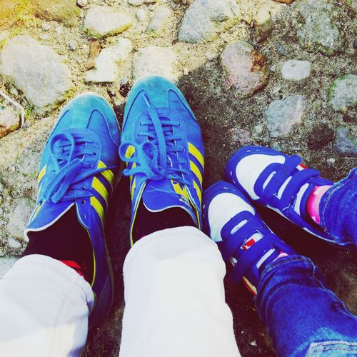 Two Pairs Sneakers Blue Small And Big Mum And Child