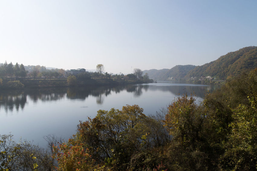View of Daecheong Lake in Daejeon, Chungnam, South Korea Autumn Daecheong Dam Daecheong Lak Daecheongho Autumn Lake Beauty In Nature Clear Sky Day Lake Lake View Lake Views Mountain Nature No People Outdoors Reflection Scenics Sky Tranquil Scene Tranquility Tree Water