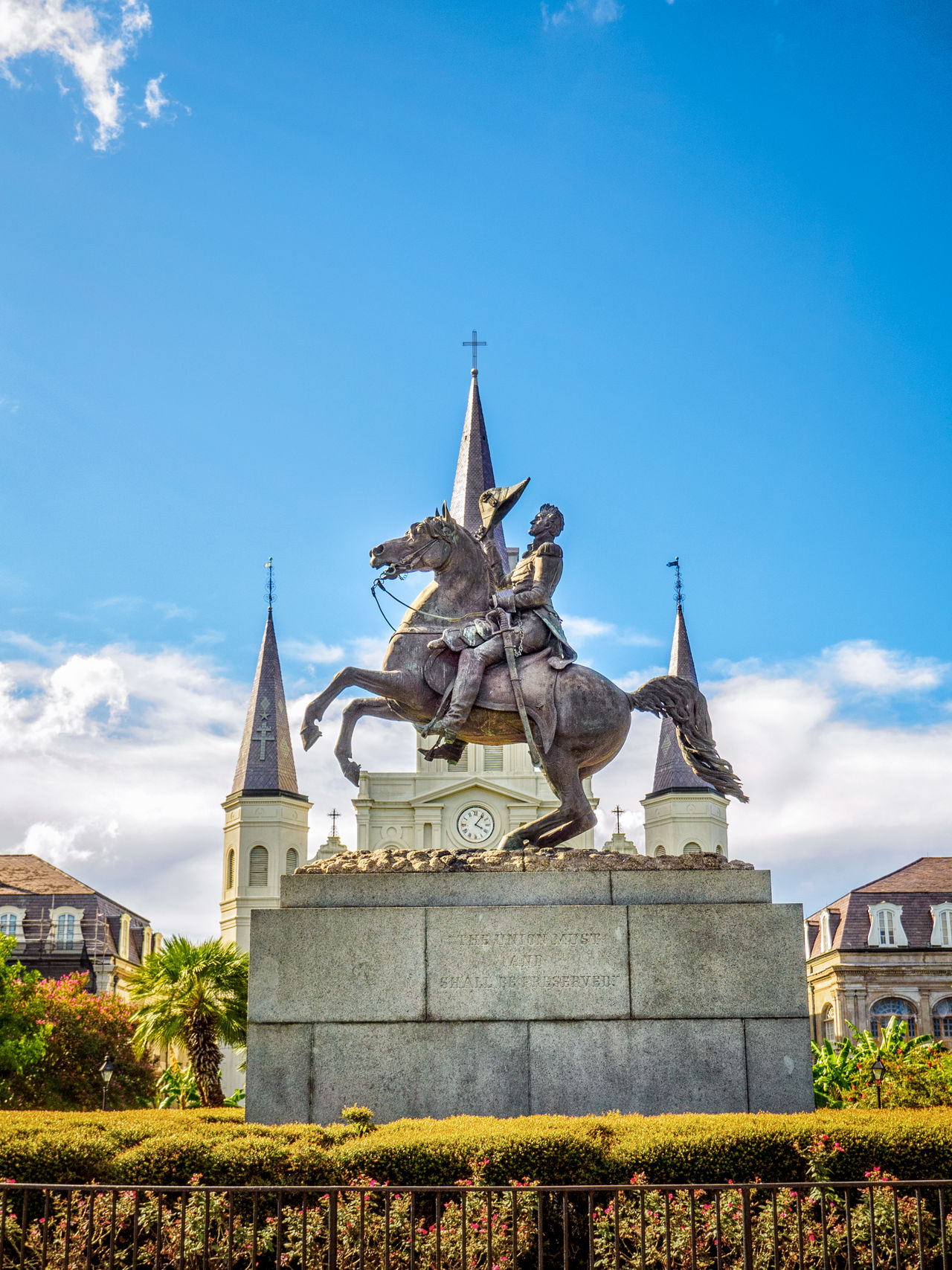 Statue of Andrew Jackson on a Horse in front of St. Louis Cathedral 1 Architecture Blue Bridge - Man Made Structure Building Exterior City Cityscape Day French Quarter Gold Gold Colored Jackson Square New Orleans, LA No People Outdoors Sky St. Louis Cathedral Statue Travel Destinations Tree