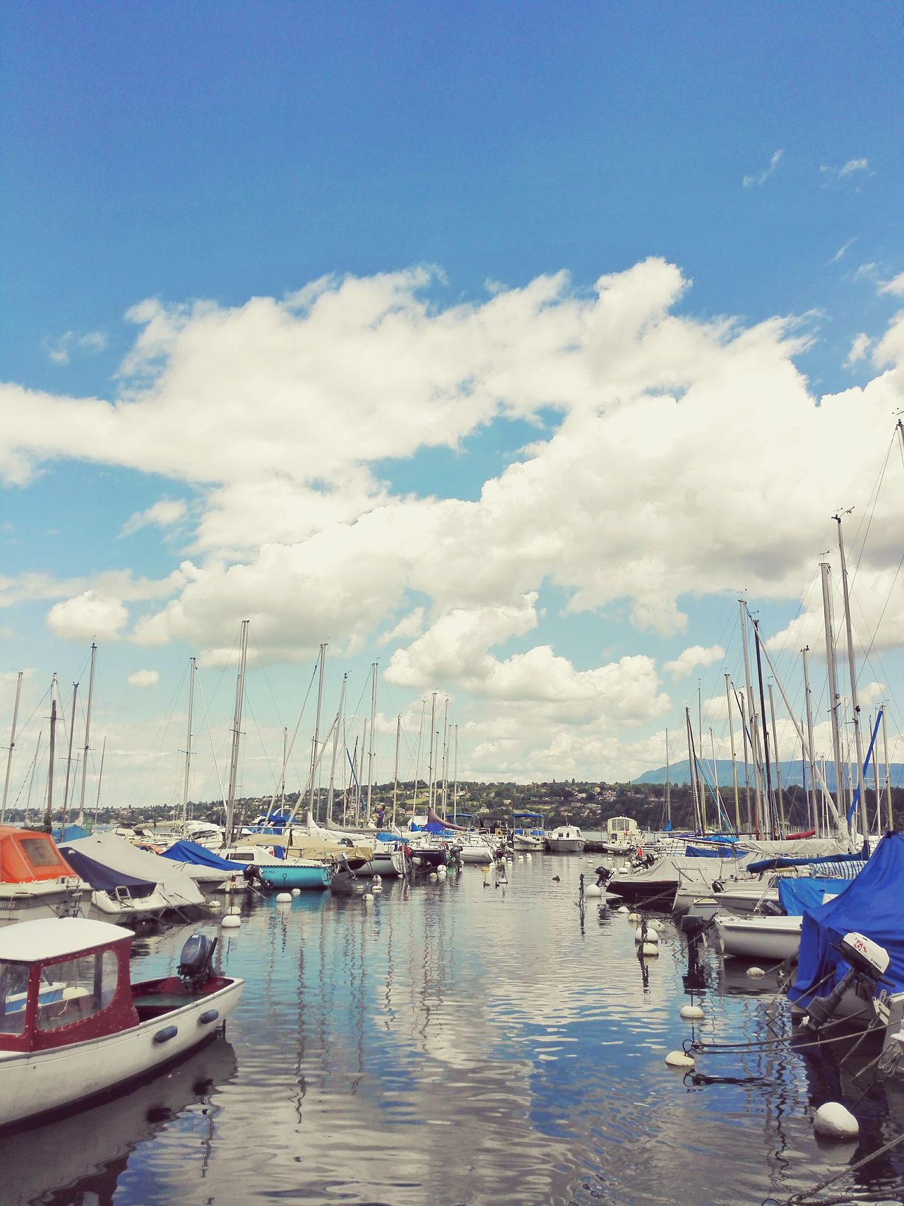 Geneve Swiss Europe Lake Landscape Boats Travel Sky Summer Transport