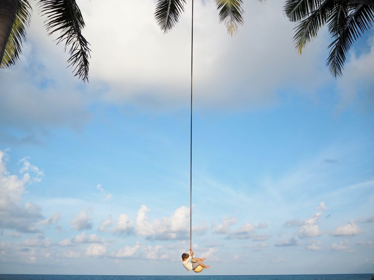 boy day Freedom horizon over water Nature no people outdoors Palm tree scenics sea sky Sunlight swing Tree water