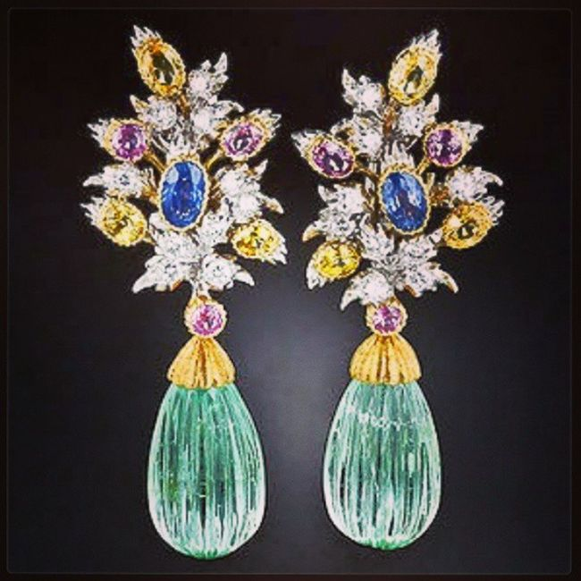 Buccelatti Green Beryl and Multi-Colored Sapphire Earrings . Photo Courtesy of Lang Antiques. Jewelry Jewellery Jewelery Instaturk Instagram TBT  Instajewelery Love Fashioninsta Followback Follow Awesome Chic Istanbul Instagramturkey