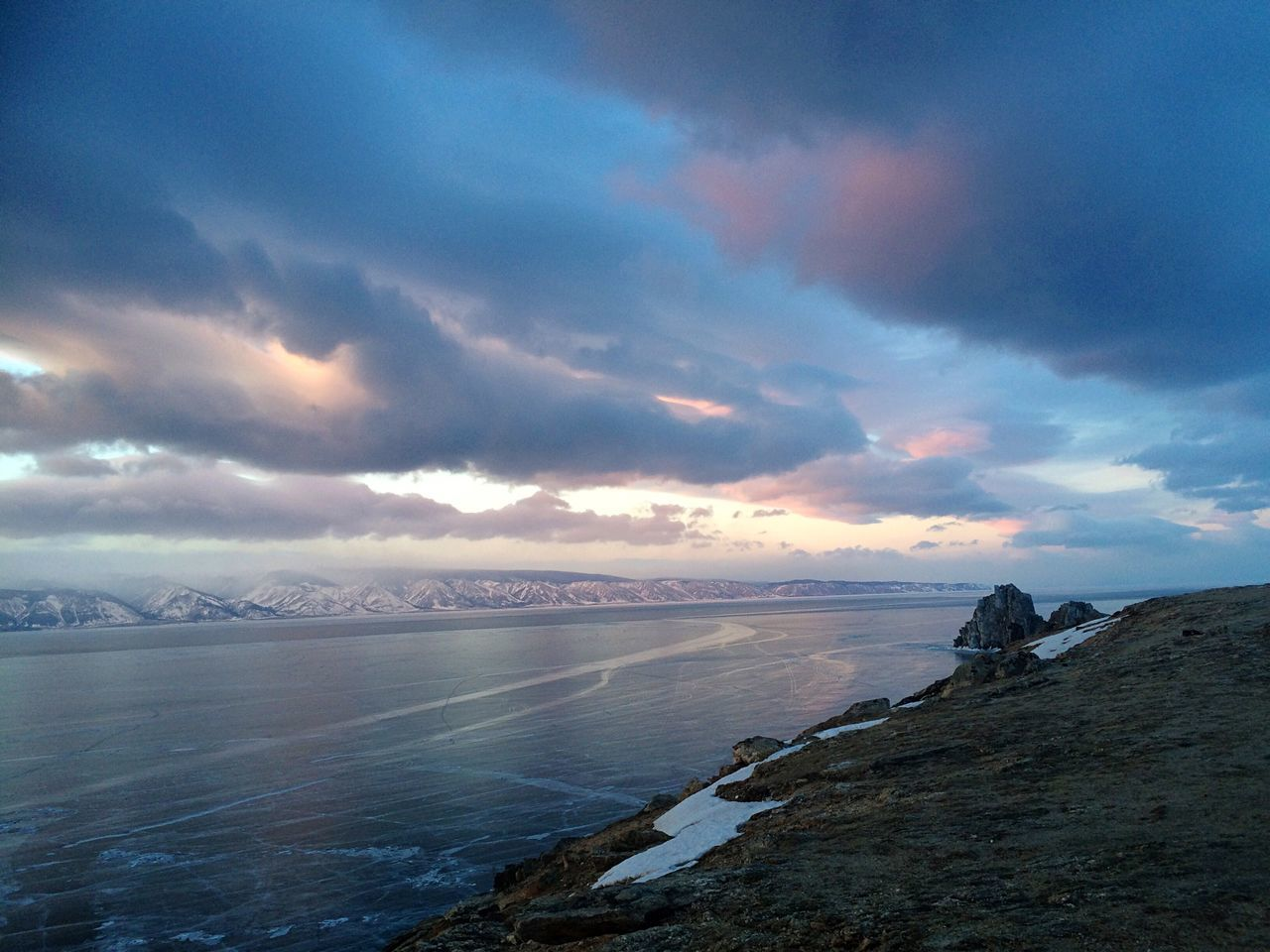 Sky Sky And Clouds Russia Olkhon Island Enjoying Life Taking Photos Relaxing Traveling Sunset Lake Baikal Beautiful Nature Soft Colors  February Winter Lake View Frozen Lake живи_на_байкале Live_on_baikal
