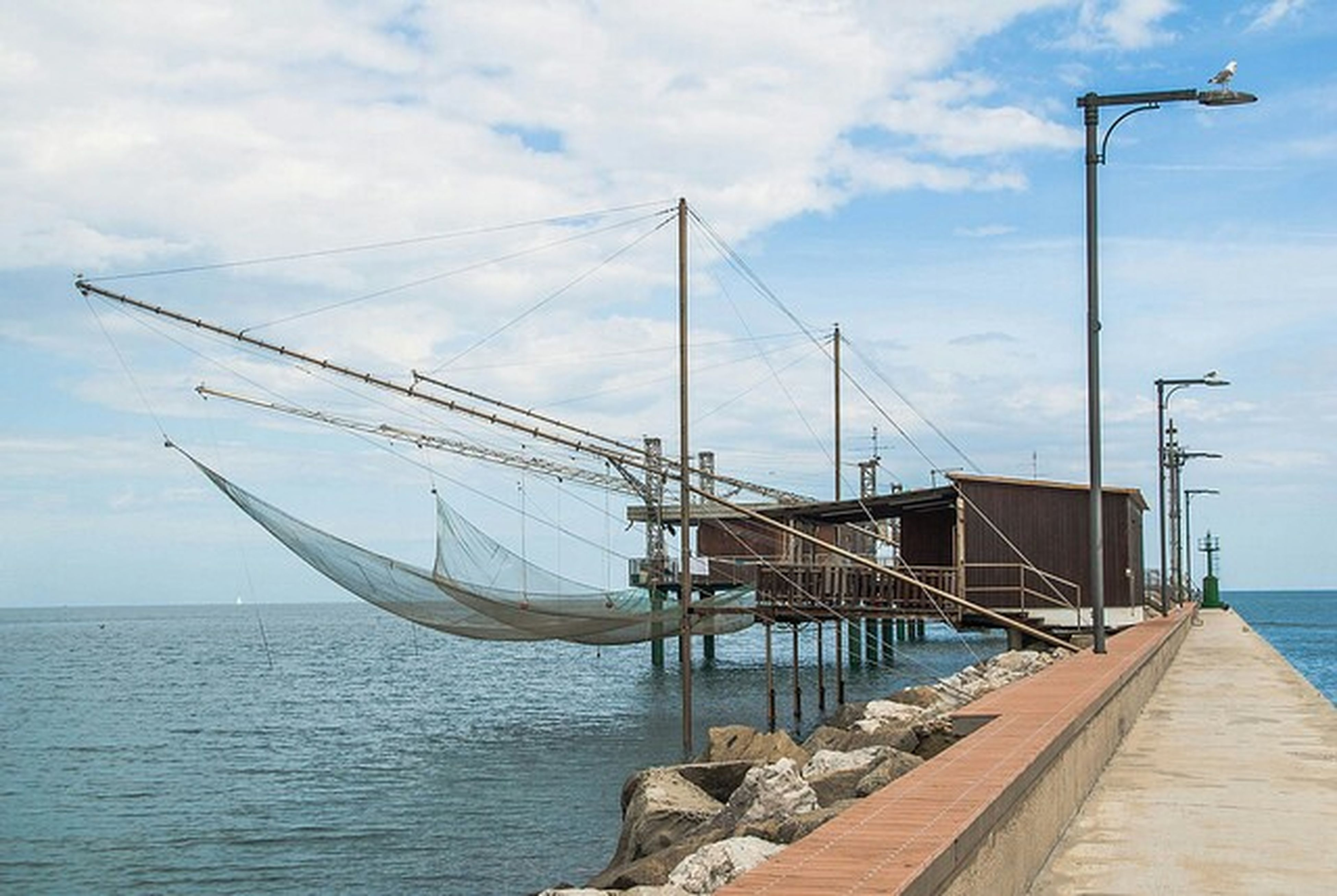 sea, water, sky, pier, transportation, cloud - sky, cloud, horizon over water, the way forward, tranquility, nautical vessel, tranquil scene, nature, connection, day, railing, built structure, jetty, no people, long