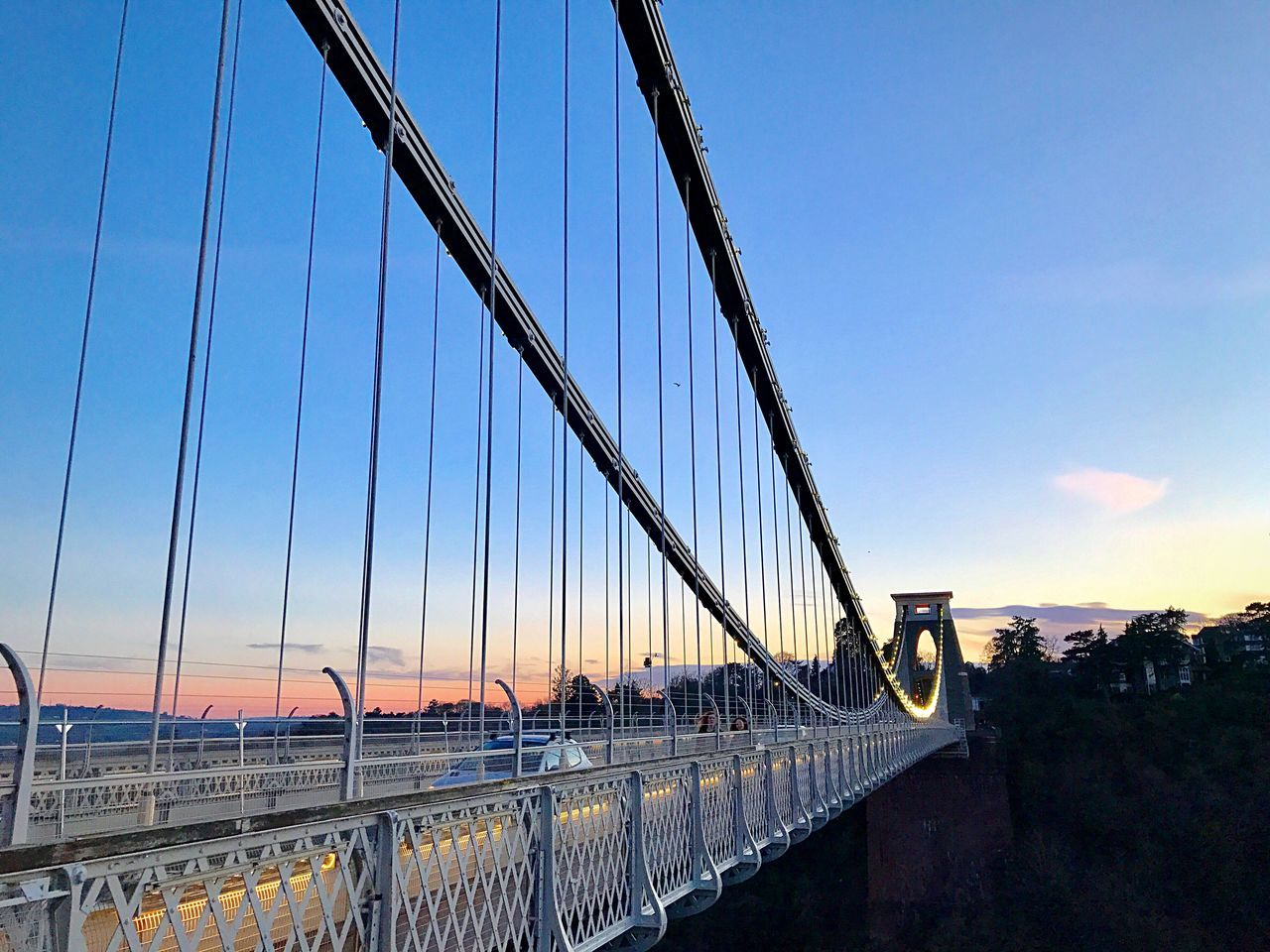Connection Bridge - Man Made Structure Transportation Architecture Engineering Suspension Bridge Built Structure Sky Outdoors Cable-stayed Bridge Travel Destinations City Clear Sky Steel Cable Bridge Building Exterior Sunset No People Day