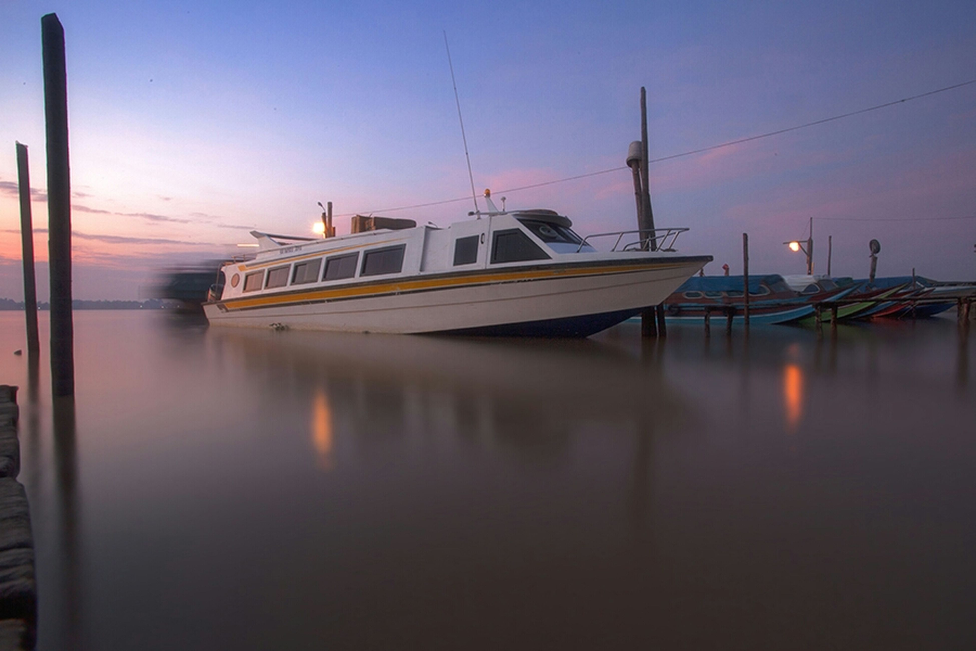 transportation, nautical vessel, boat, mode of transport, water, moored, sunset, reflection, waterfront, sky, sea, mast, travel, sailboat, harbor, nature, outdoors, river, no people, lake