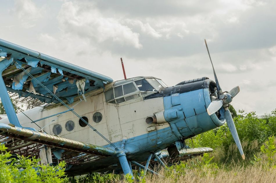 Abandoned Adventure Air Vehicle Aircraft Airplane Cloud - Sky Crash Damaged Day Destroyed Engine Flight ✈ Fly Lost Mode Of Transport Pilot Plant Propeller Russian Sky Smashed Soviet Transportation Wings