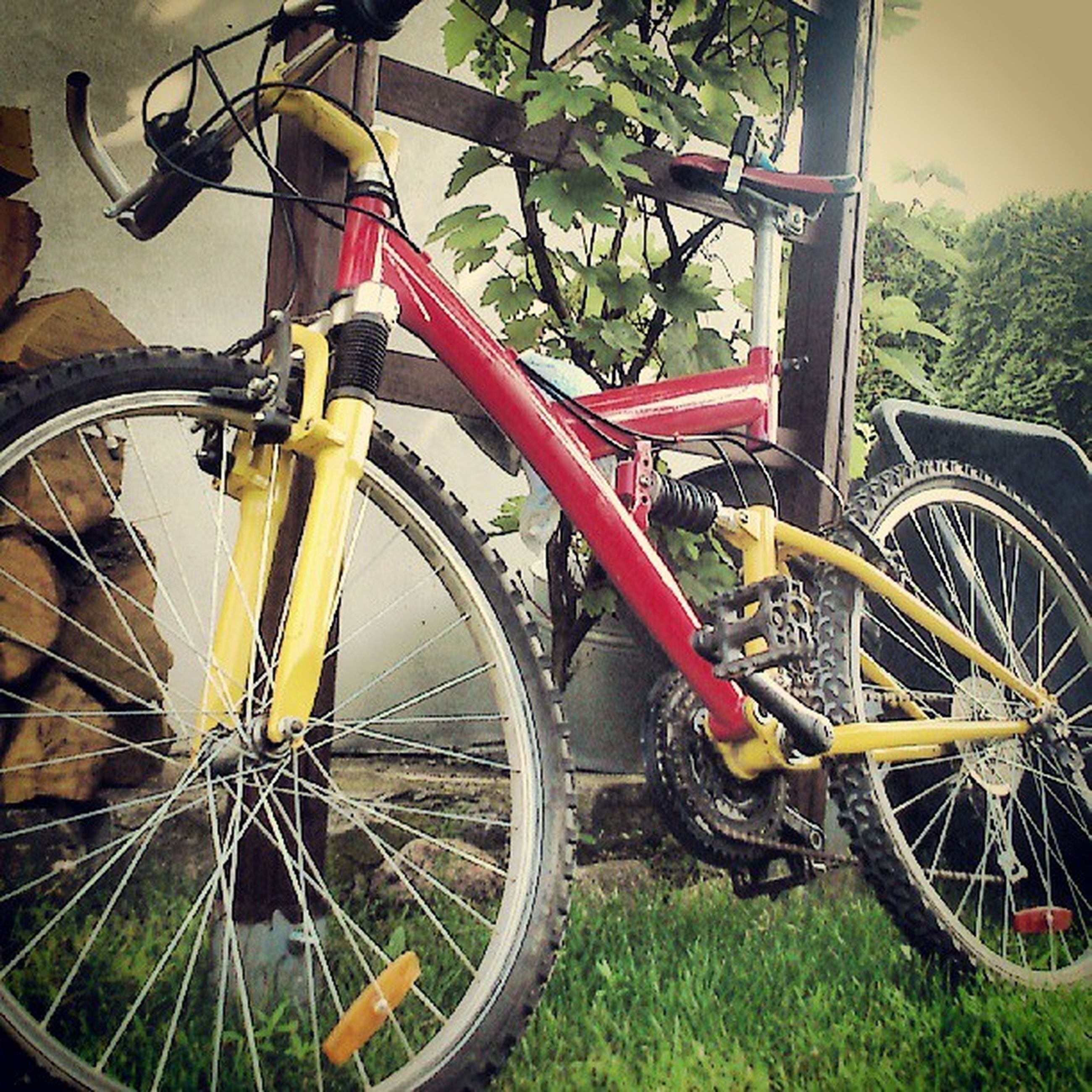 bicycle, transportation, mode of transport, land vehicle, wheel, stationary, parking, parked, travel, leaning, day, part of, outdoors, built structure, red, motorcycle, architecture, cycle, no people, car