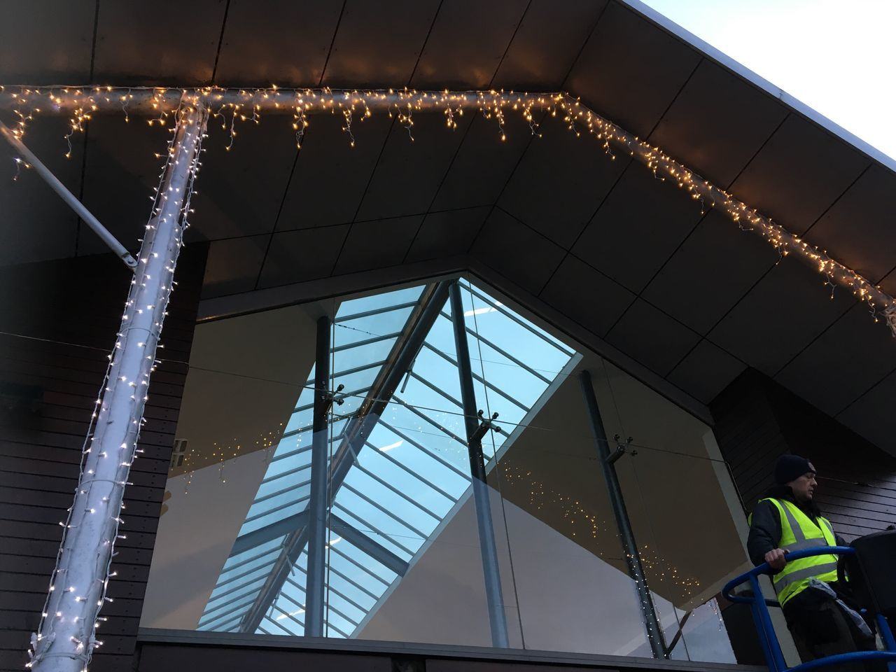 Real People One Person Low Angle View Sky Architecture Indoors  Men Day Working Away for MK Illuminations Icicles Warm White Pure White Atlantic Village Ready For Home.