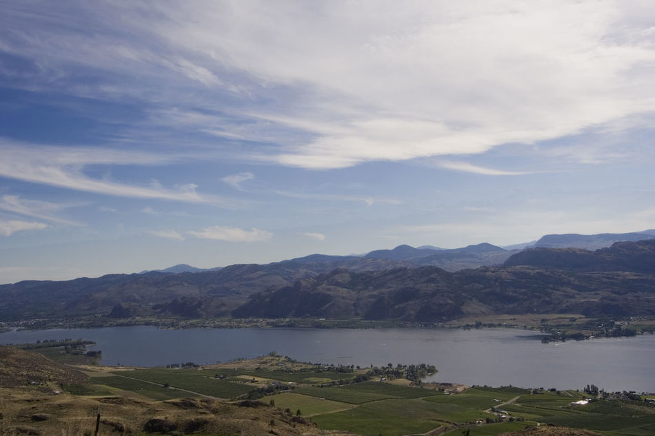 Lake Osoyoos, South of Britsh Columbia, Canada - view from the top - mountains, fields and rural scenery Beauty In Nature British Columbia Canada High Angle View Lake Lake Osoyoos Lake View Lakeshore Lakeside Lakeview Landscape Landscape_Collection Landscape_photography Mountain Mountain Range Nature No People Osoyoos Rural Scene Scenery Scenics Tranquility Travel Destinations Village Water