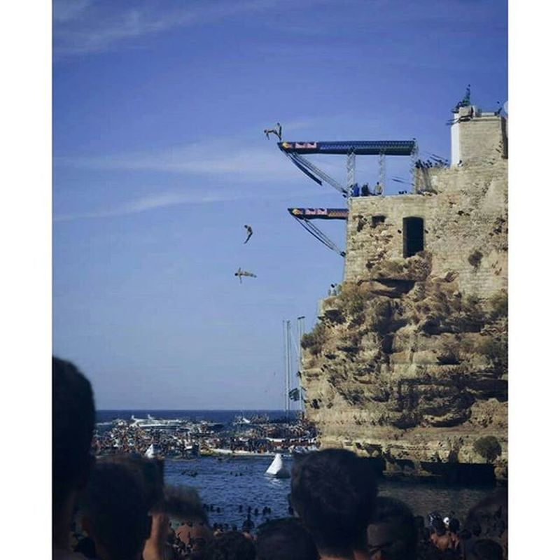 Red Bull cliff diving Polignano a mare. Feels RedBull Summer 2015  Polignano Redbullcliffdiving  Sea Cool Sky People Fresh Free Noschool Photoediting Edit