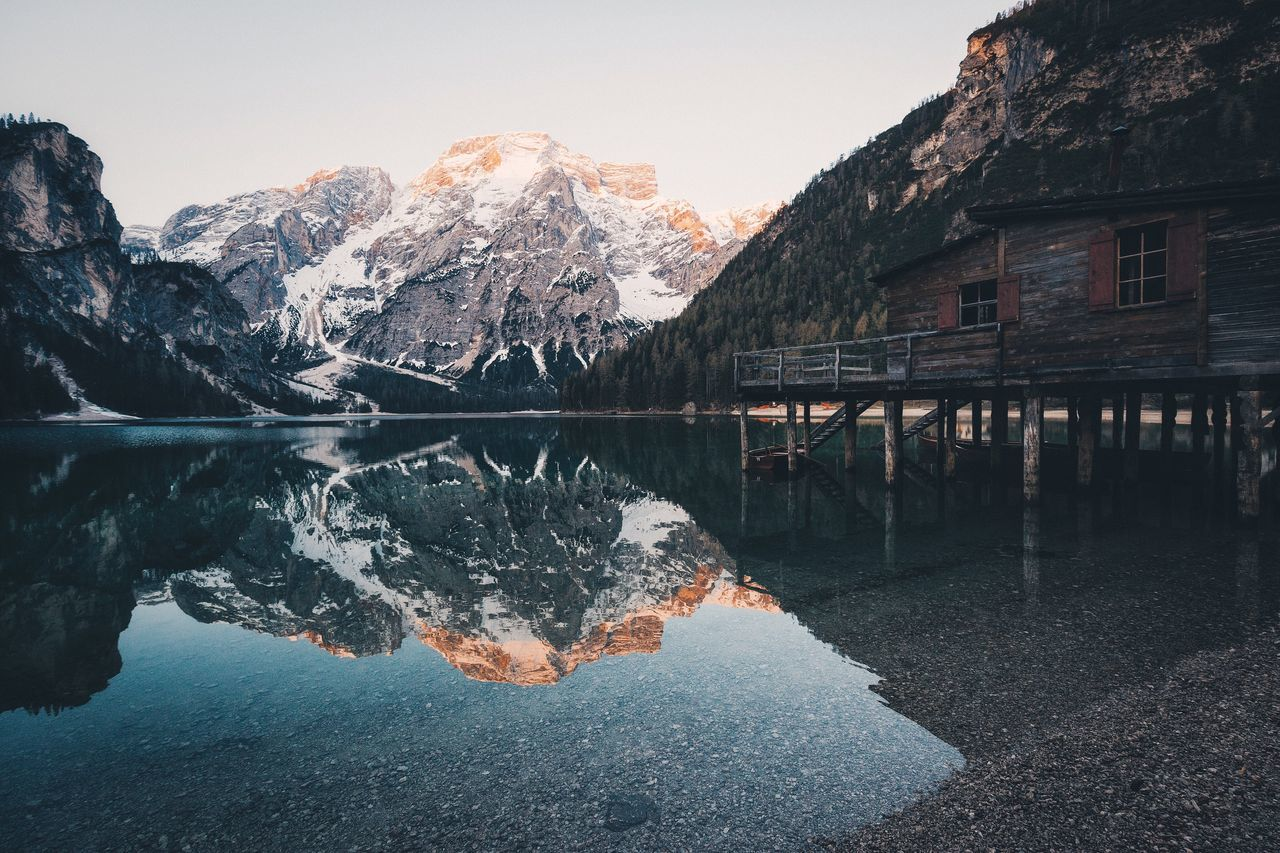 Boathouse at lago Di Braies Landscape Explore Spring Roadtrip Rural Vscocam Travel Nature Beauty In Nature VSCO Mountain Folk EyeEm Best Shots Outdoors Sunrise Dolomites, Italy Italy Tranquil Scene Travel Destinations Reflection Tranquility Mountain Range Calm Sky The Great Outdoors - 2016 EyeEm Awards