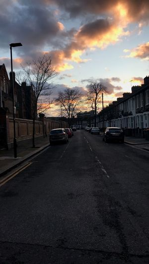 London Streets Car Transportation Sky Land Vehicle Road Sunset Street Built Structure Architecture Building Exterior Cloud - Sky The Way Forward City Outdoors Colour Your Horizn