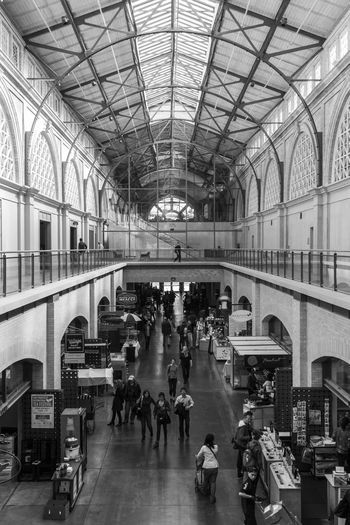 Architecture Architecture With People Architecture_collection Blackandwhite Commuter Crowd Day Ferrybuilding Indoors  Journey Large Group Of People Market Marketplace Modern Architecture People San Francisco Shopping Travel This Week On Eyeem
