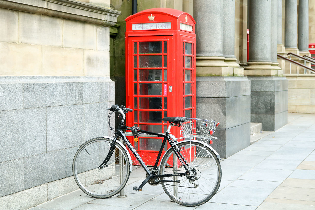 Architecture Bicycle Bike Bikes City City City Life Communication Connection Cultures Day England England🇬🇧 No People Outdoors Red Red Phone Box Red Phone Boxes Telephone Booth United Kingdom