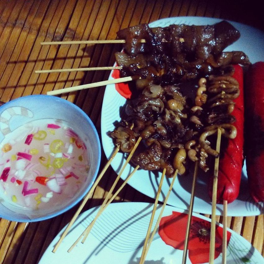 This what we call street foods.... StreetFoodPH Isaw Balat HotDog isawngbaboy all is grilled! 😊😊😊✌✌