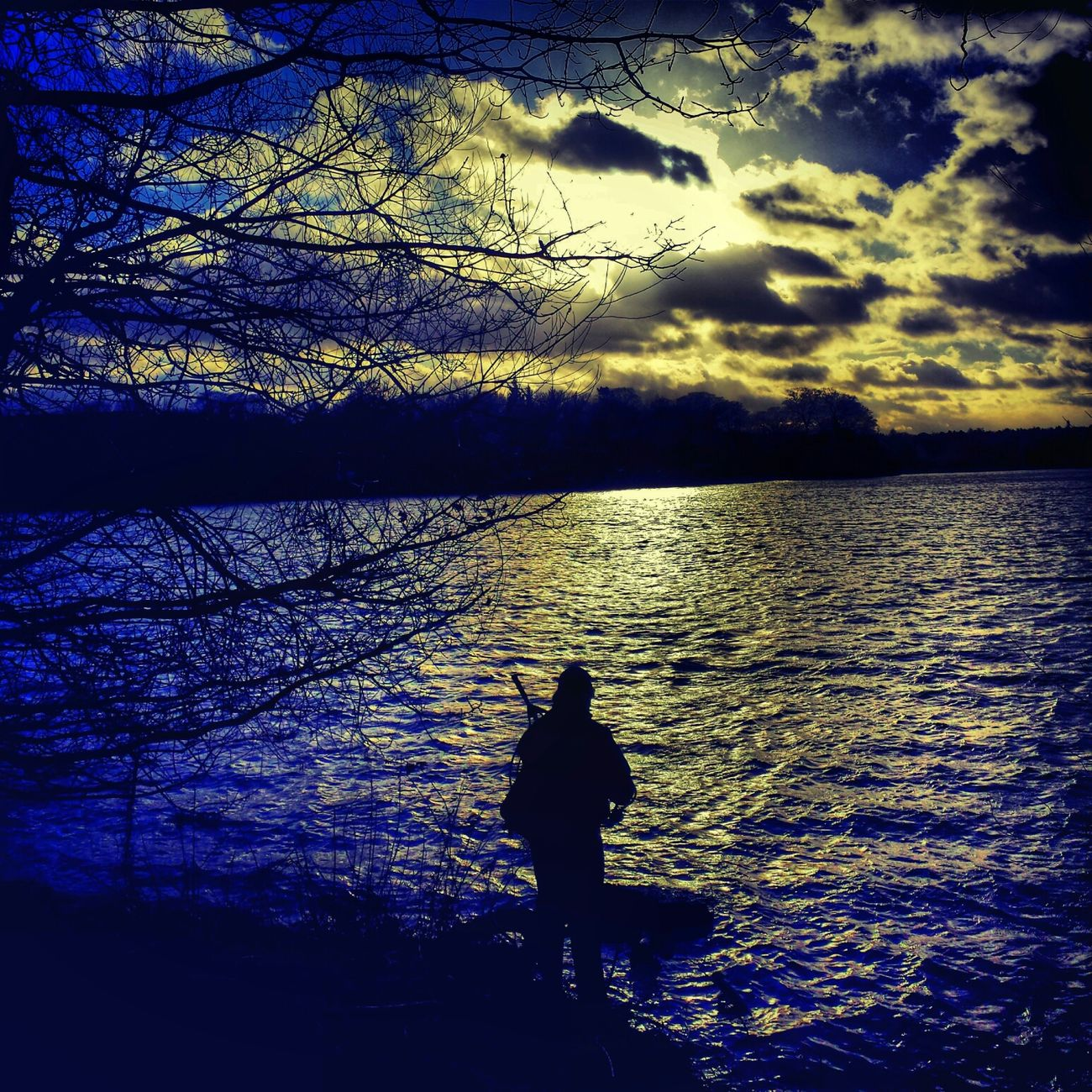the lone fisherman Landscape_Collection Sky_collection Water_collection Silouette & Sky