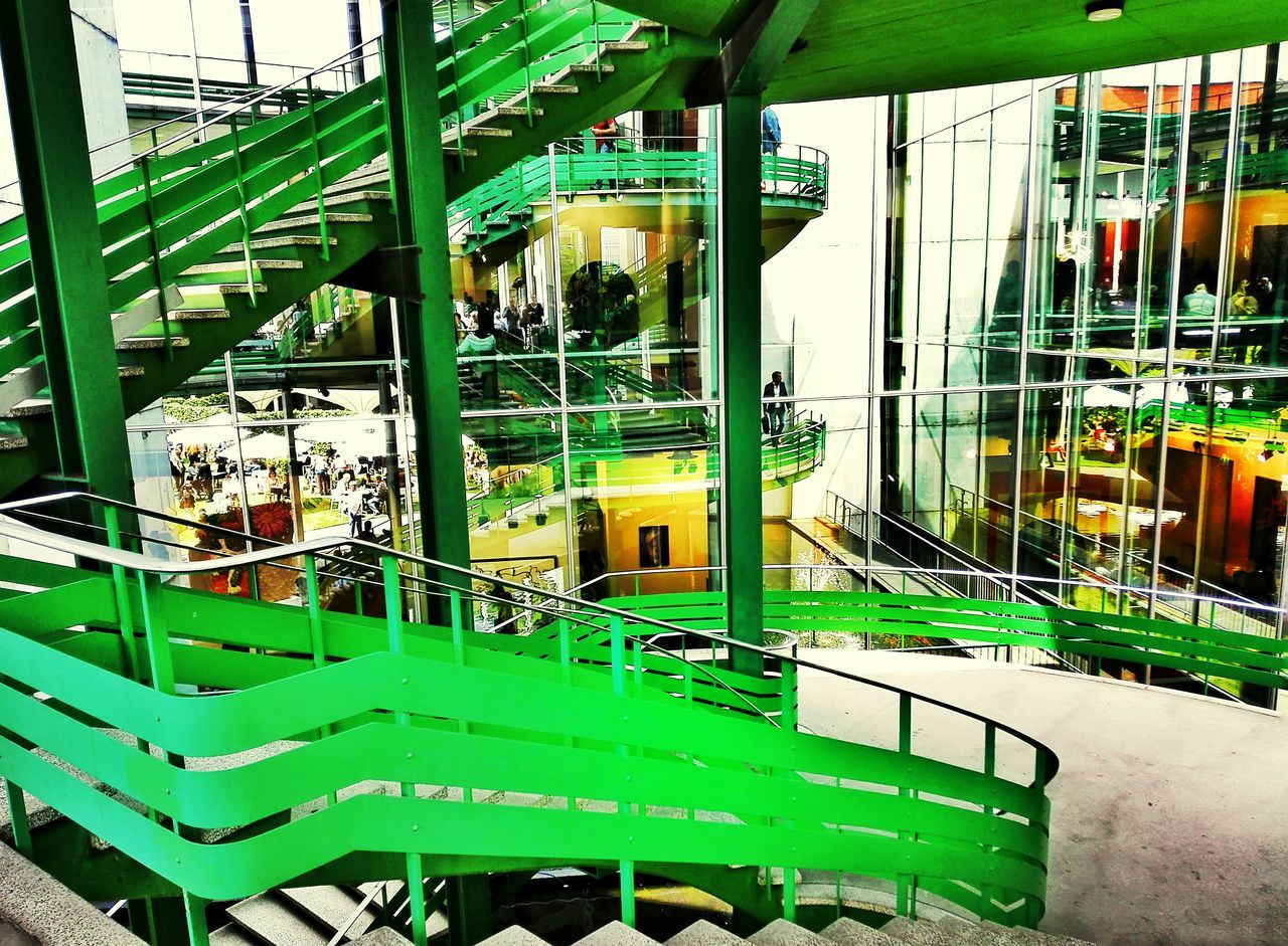 green color, built structure, indoors, architecture, no people, day