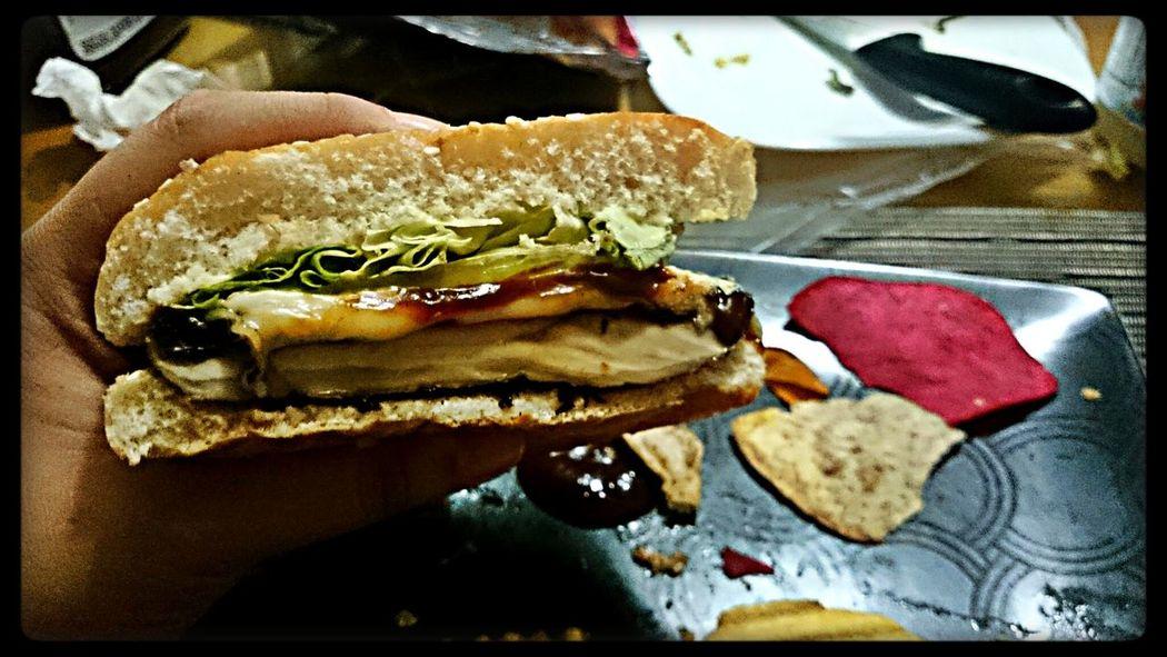 Food Porn Enjoying Life Yummy!! Relaxing Portobello hamburger with vegetable chips!!!