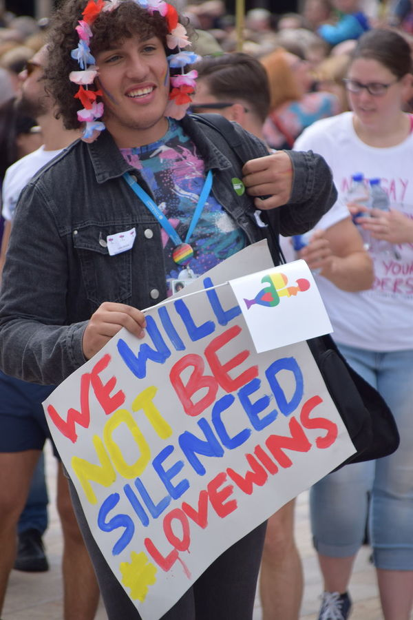 Signs shown during UK Pride parade as part of Hull UK City of Culture 2017 (22nd July 2017) Hull Hull City Of Culture 2017 Pride In Hull Protest Signs UK Pride Casual Clothing Childhood Close-up Communication Day Friendship Holding Hull 2017 Leisure Activity Lgbt Lgbt Pride Lifestyles One Person Outdoors Pride Parade Real People Text Young Adult