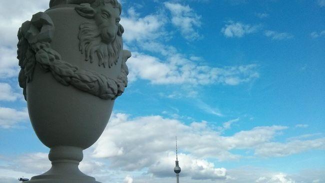 Art Art And Craft Berlin Berlin Mitte Berliner Ansichten Blue Cloud - Sky Cloudscape Cloudy Culture Day Famous Place Fernsehturm Fernsehturm / Tv Tower Himmel Und Wolken Himmel über Berlin Monument Outdoors Satyr Skulptur Skulpturen Sky Statue TakeoverContrast Travel Destinations First Eyeem Photo