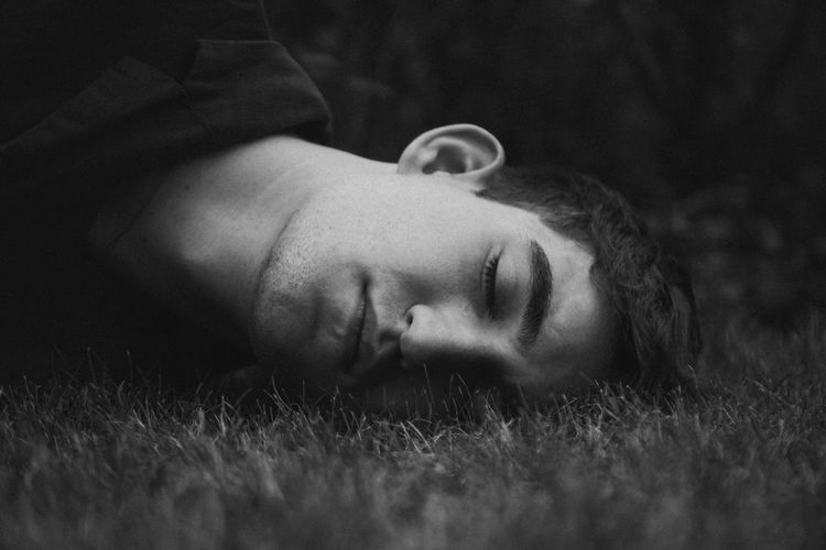 Denam One Person Close-up People Grass Outdoors Blackandwhite Model Test Face Portrait Real People Men