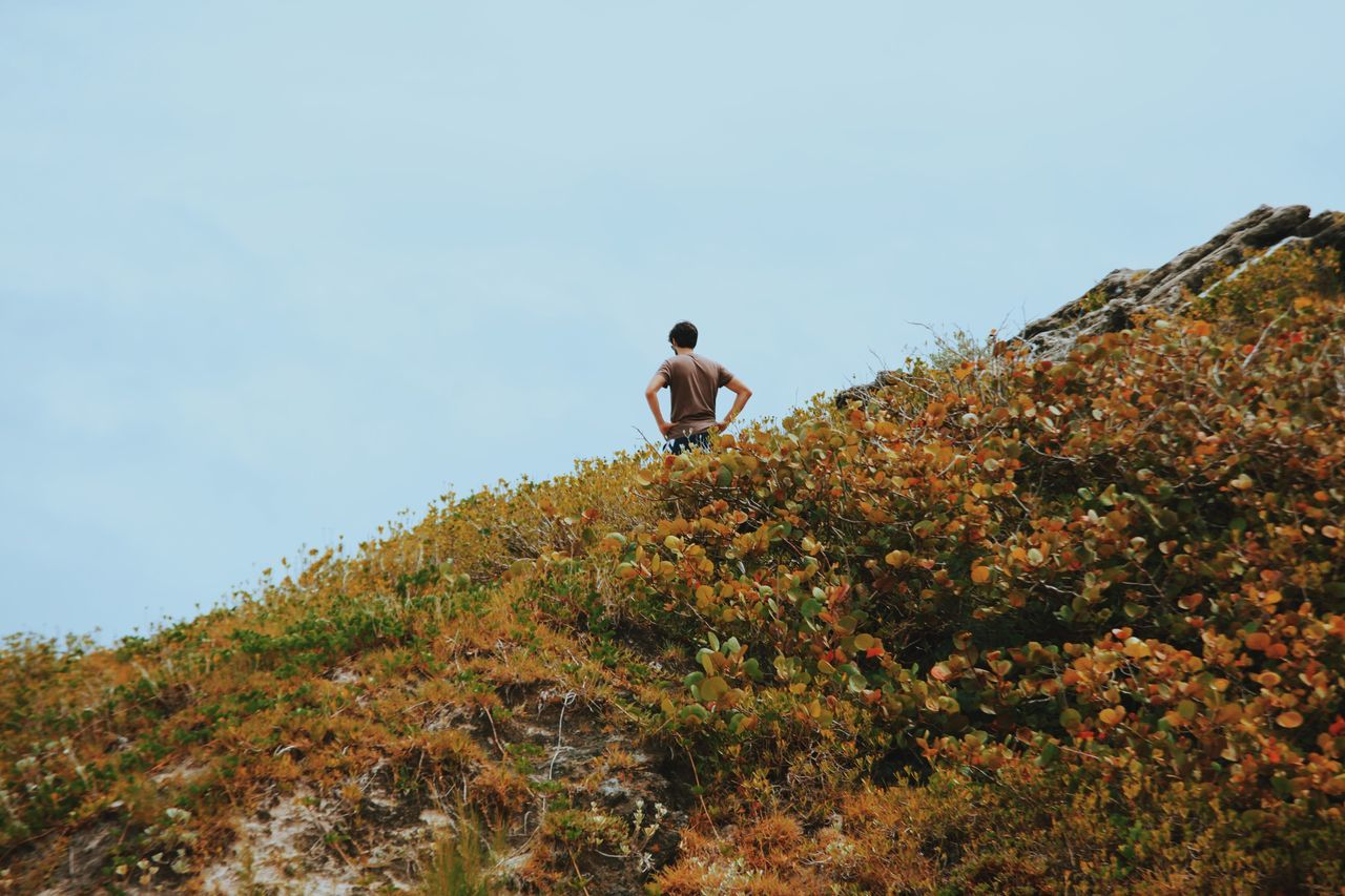 My Year My View Full Length One Person Nature Outdoors Sky Low Angle View Young Adult Beauty In Nature Standing On The Edge Day Hiking Adventure Rock Rock Formation Grass Field Ocean Ocean View Adult Boy Wondering Looking Open Edit Bermuda